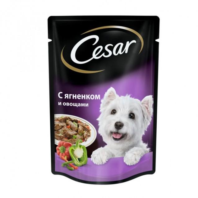 Влажный корм Cesar для собак, ягненок с овощами в соусе, пауч, 85 г