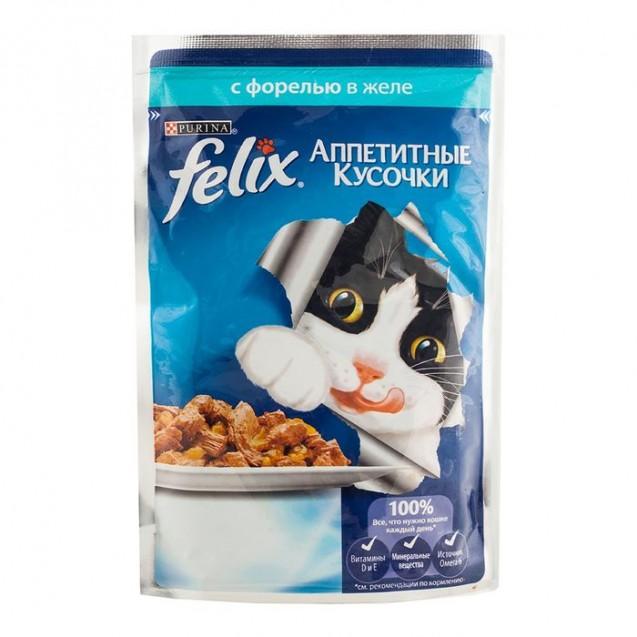 Влажный корм FELIX AGAIL для кошек, форель в желе, пауч, 85 г