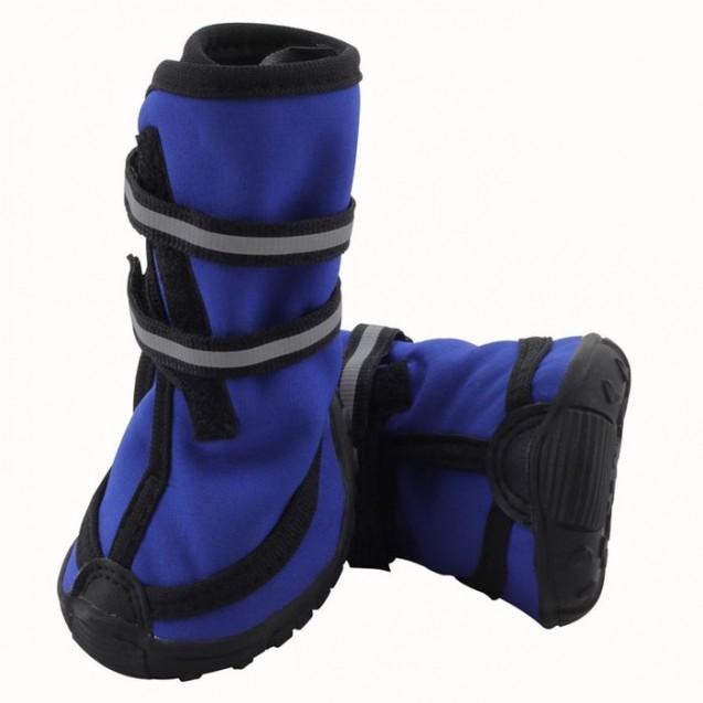 Ботинки высокие на липучках Triol для собак M, светоотражающие, синие