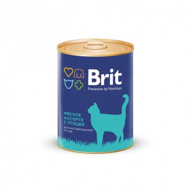 Влажный корм Brit Premium для кастрированных котов, мясное ассорти с птицей, ж/б, 340 г