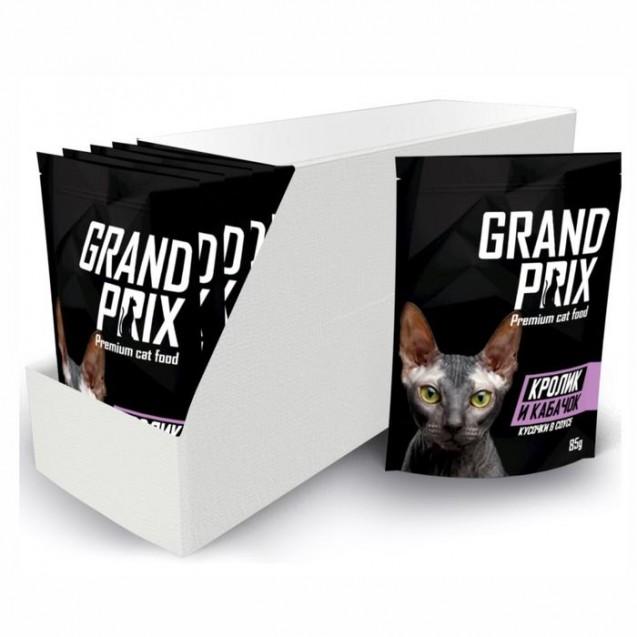 Влажный корм GRAND PRIX для кошек, кусочки в соусе кролик и кабачок, 85 г