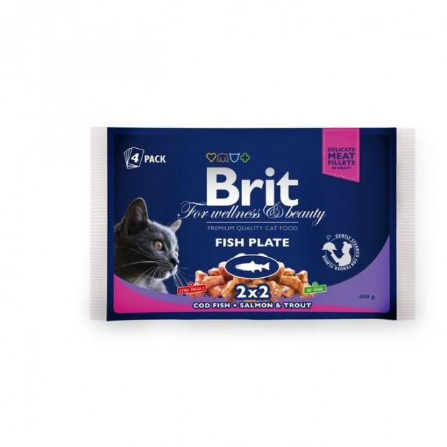 "Влажный корм Brit Premium ""Рыбная тарелка"" для кошек, пауч, 4 х 100 г"