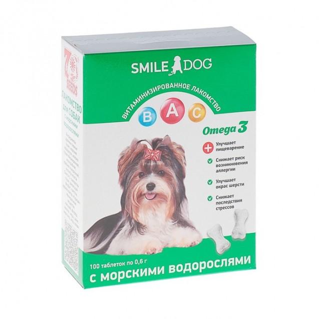 Витамины Smile Dog для собак, с морскими водорослями, 100 таб