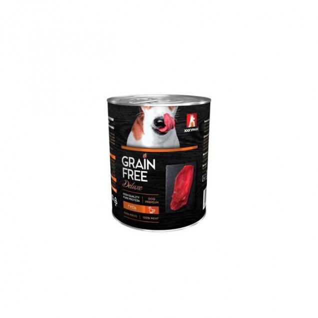 Влажный корм GRAIN FREE  гусь, для собак, ж/б, 350 г