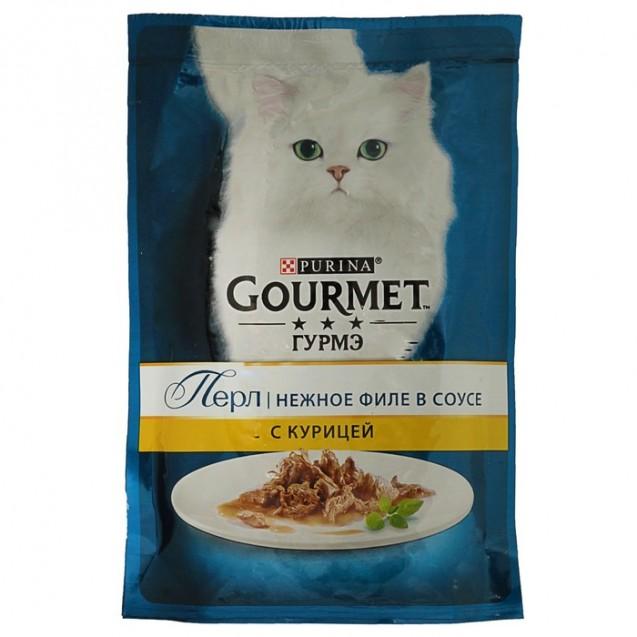 Влажный корм GOURMET PERLE для кошек, курица, пауч, 85 г