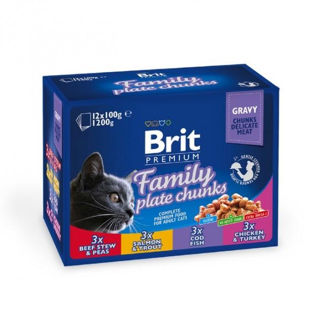 """Влажный корм Brit Premium Family Plate """"Семейная тарелка"""" для кошек, 12 х 100 г"""
