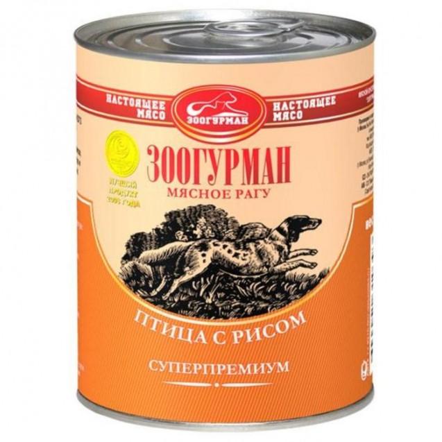 """Влажный корм """"Мясное рагу"""" для собак, птица с рисом, ж/б, 350 г"""