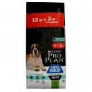 Акция! Сухой корм PRO PLAN для крупных собак с чувств.пищев., мощное тело, ягненок, 12 + 2 к