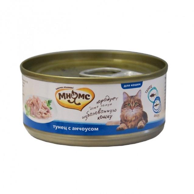 """Влажный корм """"Мнямс"""" для кошек, тунец с анчоусами в нежном желе, ж/б, 70 г"""