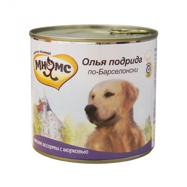 """Влажный корм Мнямс """"Олья Подрида по-Барселонски""""для собак, мясное ассорти с морковью, 600г"""