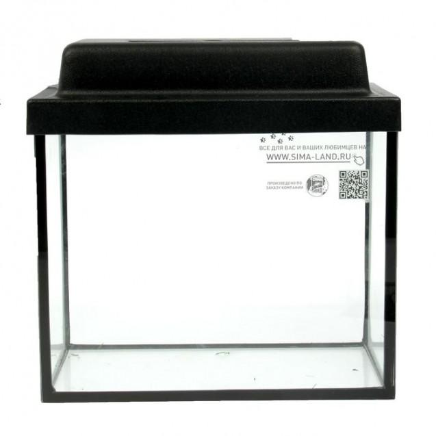 Аквариум прямоугольный с крышкой, 50 литров, 51 х 27 х 35/41 см, чёрный