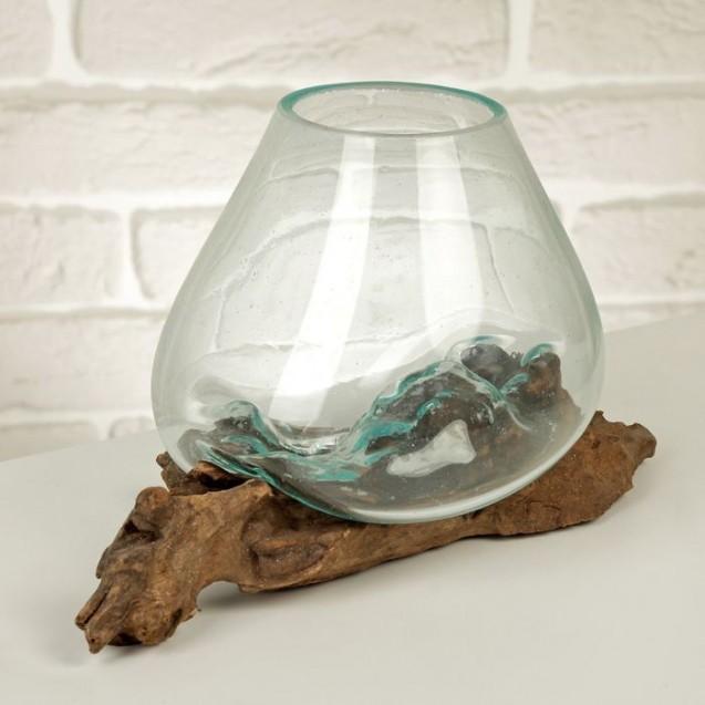 """Вазон стекло на дереве """"Классика"""" 15х15х18 см"""