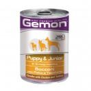 Влажный корм Gemon Dog для щенков, кусочки курицы с индейкой, ж/б, 415 г