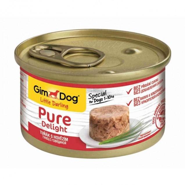 Влажный корм GIMDOG Pure Delight, для собак из тунца с говядиной, 85 г