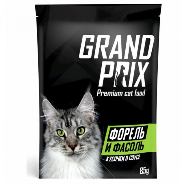 Влажный корм GRAND PRIX для кошек, кусочки в соусе форель и фасоль, 85 г