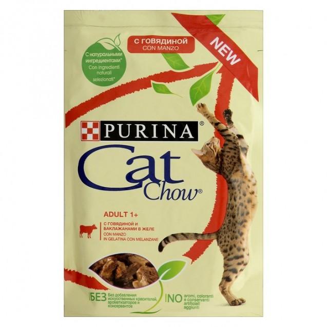 Влажный корм CAT CHOW для кошек, говядина/баклажан в желе, 85 г