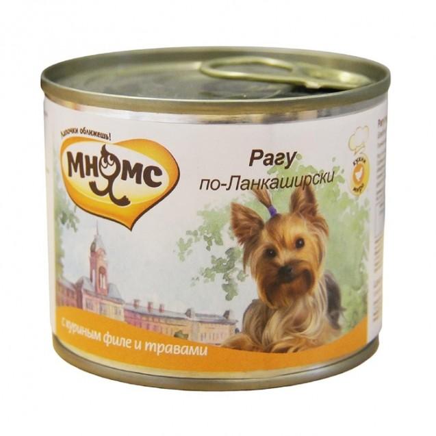 """Влажный корм Мнямс """"Рагу по-Ланкаширски"""" для собак, куриное филе с травами, ж/б, 200 г"""