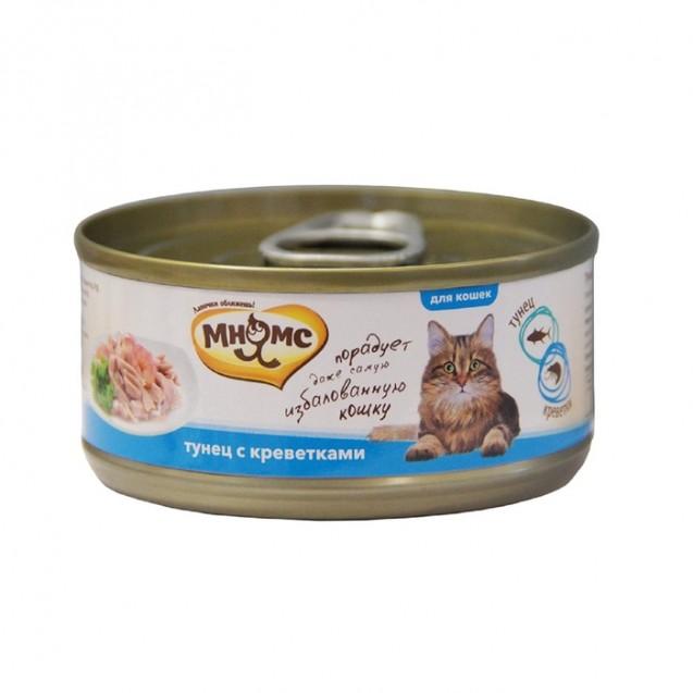 """Влажный корм """"Мнямс"""" для кошек, тунец с креветками в нежном желе, ж/б, 70 г"""