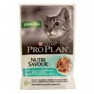 Влажный корм PRO PLAN для стерилизованных кошек, океаническая рыба в соусе, пауч, 85 г
