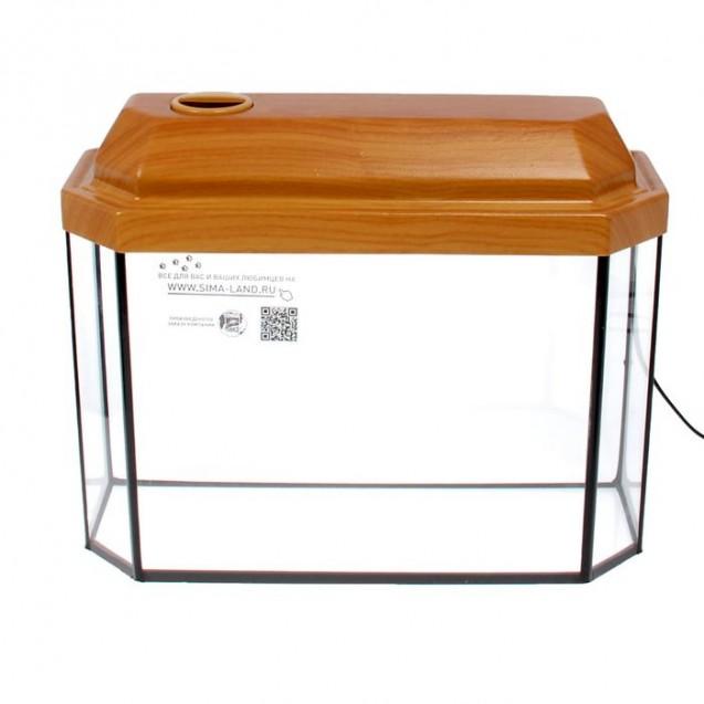 Аквариум панорамный с крышкой, 15 литров, 40 х 14,5 х 27/32,5 см, вишня