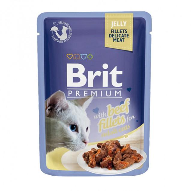 Влажный корм Brit Premium для кошек,кусочки из филе говядины в желе, 85 г