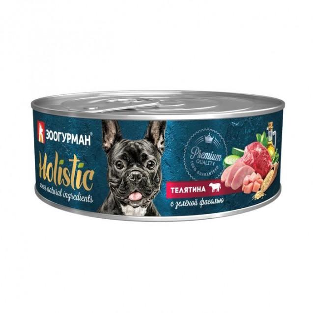 Влажный корм Holistic для собак, телятина с зеленой фасолью, ж/б, 100 г