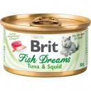 Влажный корм Brit Fish Dreams для кошек, тунец и кальмар, 80 г